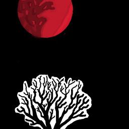 art tree moon red