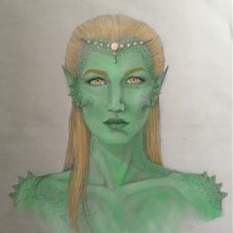 mermaid green yelloweyes art
