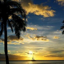 sunset sky nature ocean boat