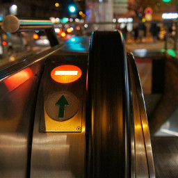 night metrostation escalator photography lyon