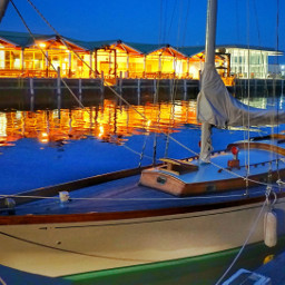 portlandme boat sailboat evening reflection