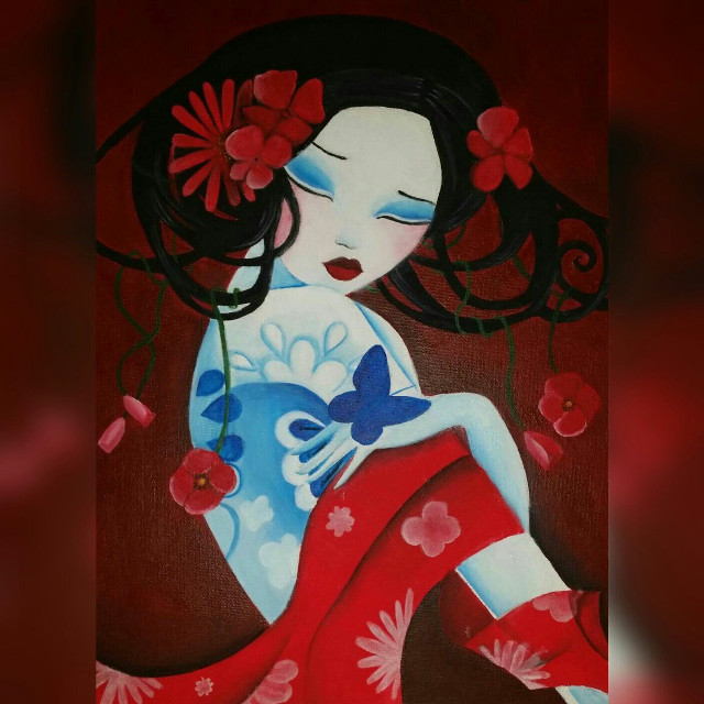 #flower #people #art #drawing #red  Made with acrylics