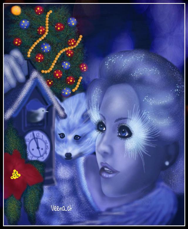 #drawing #mydrawing #digitaldrawing #art #digitalart #fairy #girl #clock #christmastree #bird