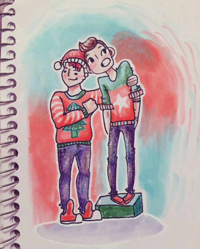 merry christmas everyone!!!! i lov u all and hope ur having some super festive holidays w lots of gifts and fun stuff ✨✨✨  copic/prismacolor doodle of tyjo and josh in christmas sweaters cause tbh thats what we all want