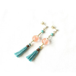 earrings stones tassels goldfilled