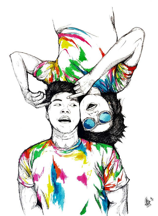 For Us. #illustration #ink #colorsplash #colorful #people #anniversary #love #emotions #popart #sketch #drawing