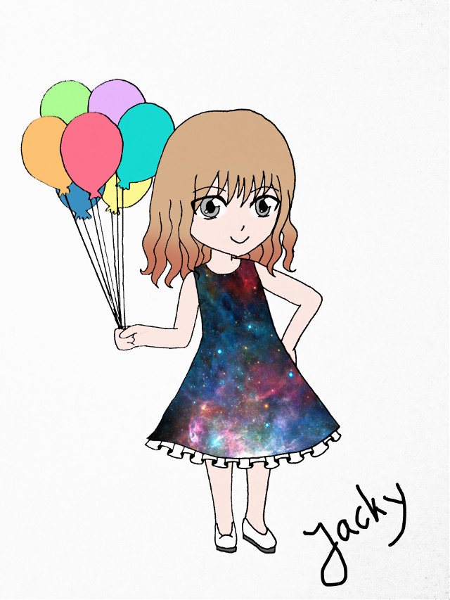 #art #colorful #chibi #artbyme #balloons #galaxy