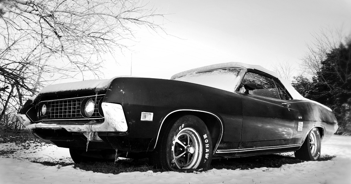 #Frozen #blackandwhite #cars  #classic  #muscle #winter #snow #vintage #ford #photography #eyecapture #trees