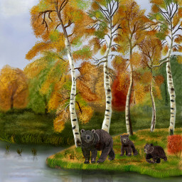 wdptreeline drawing digitalart autumn bear