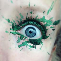 wdpsplash green freetoedit eye watercolor