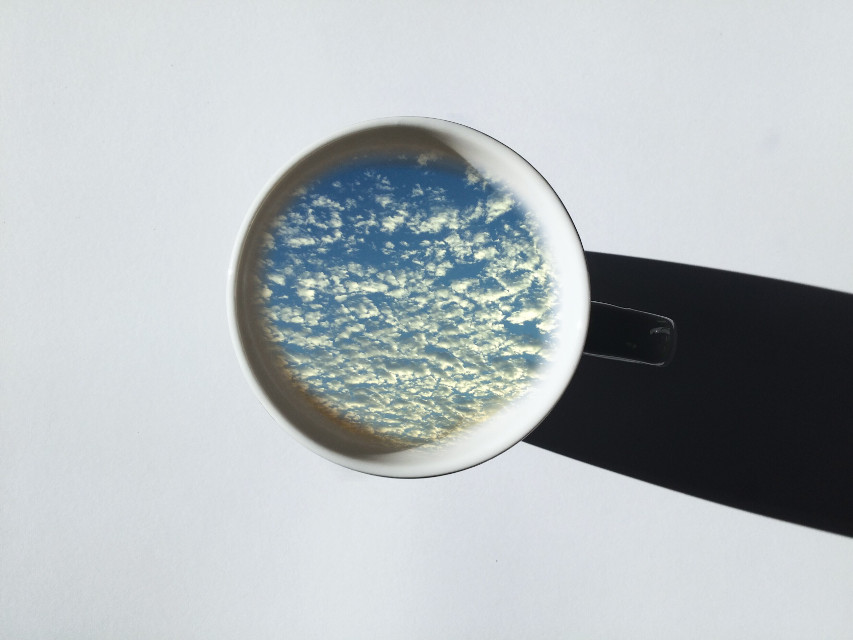 Photo by @orgnlwhtsvn   Edited by me, cup full of clouds. #interesting #mug #cup #sky #clouds #white #photography #editedbyme