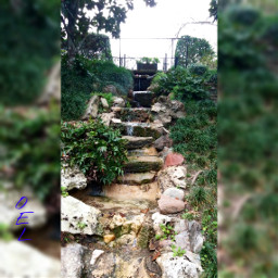 falls water stairsteps outdoors cliffside