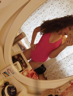 new swimsuit pink brunette excited