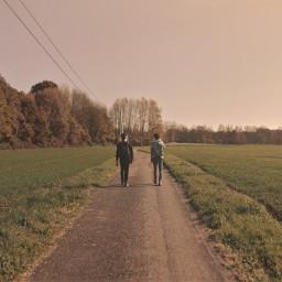 walk guys road green landscape