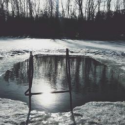 swimmingpool park photography spring snow
